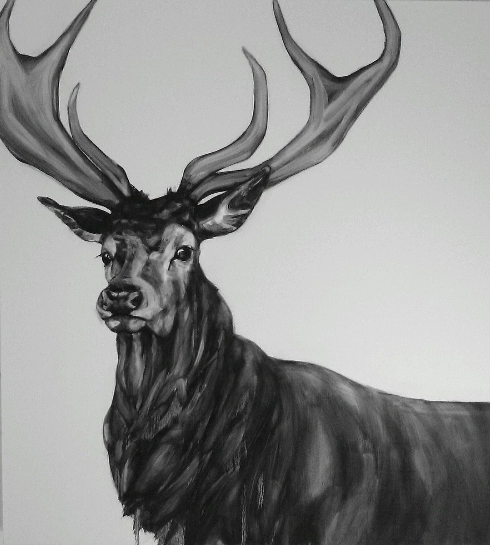 monochrome painting of a stag