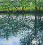 Pastel painting by Sarah Brown of river and trees near Avoncliff