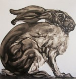 Painting by Abigail Reed. English Hare oil on canvas.