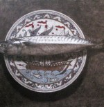 Painting by Robert Pittam. Mackerel and Greek Plate, acrylic on board.